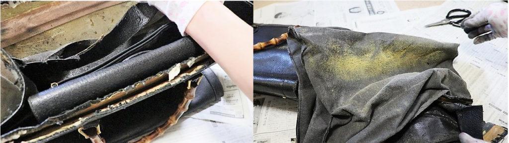 劣化が激しい内貼りのブランドバッグを一生ものにリフォームした記録